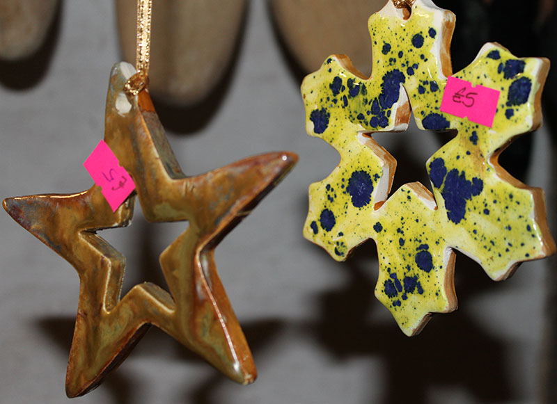 colourful ceramic christmas tree decorations